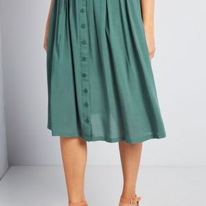 Modcloth Bookstore's Best Midi Green Skirt
